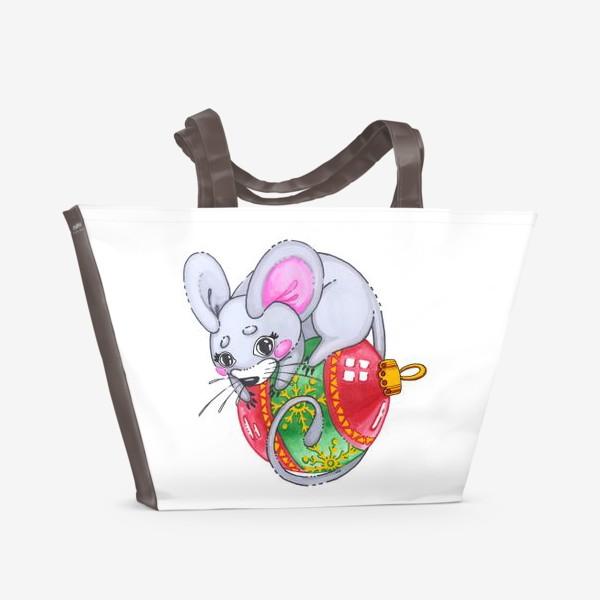 Пляжная сумка «Мышка на елочной игрушке»