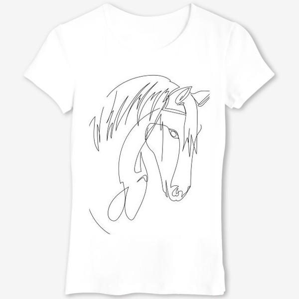Футболка «Конь. Графика. Линейный рисунок»