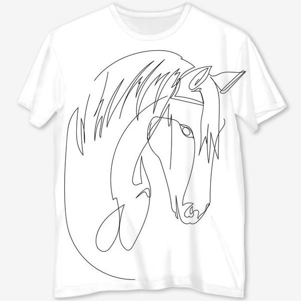 Футболка с полной запечаткой «Конь. Графика. Линейный рисунок»