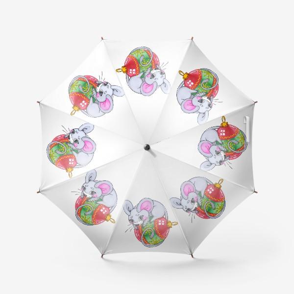 Зонт «Мышка на елочной игрушке»