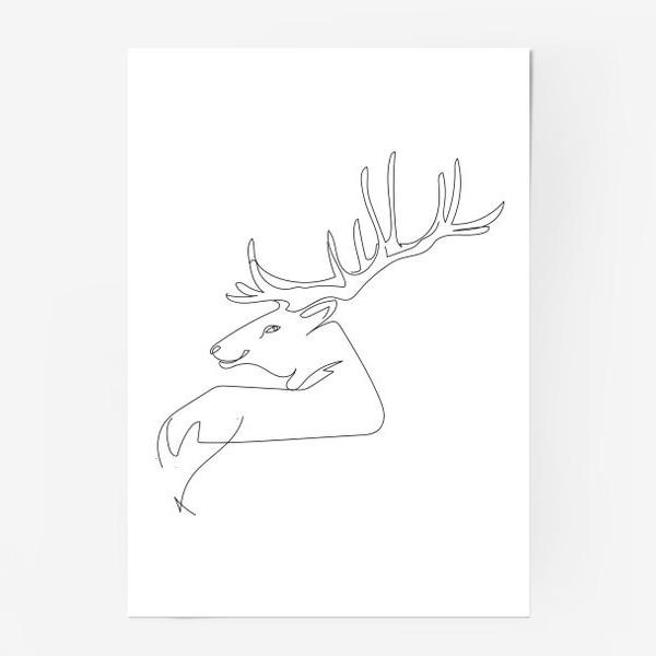 Постер «Олень. Графика. Линейный рисунок»