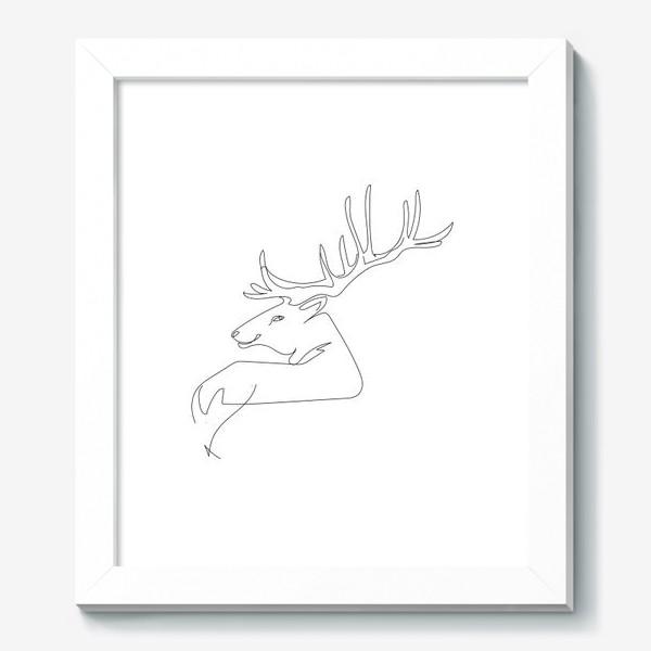 Картина «Олень. Графика. Линейный рисунок»