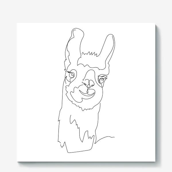 Холст «Забавная альпака/Лама. Графика. Линейный рисунок»