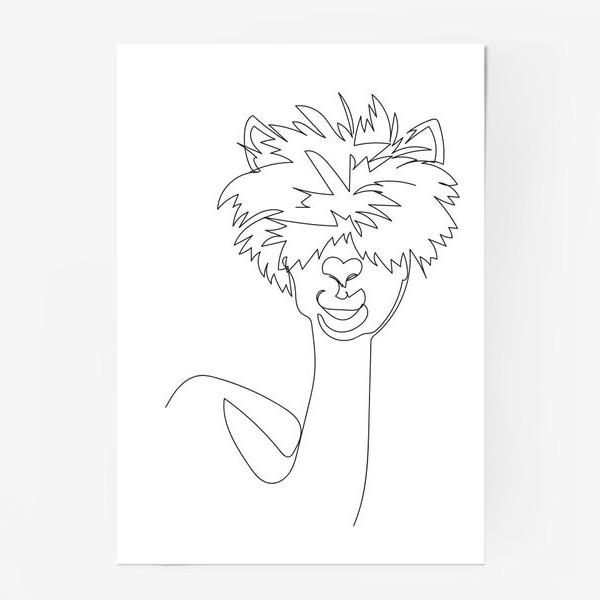 Постер «Лама/Альпака. Графика. Линейный рисунок»