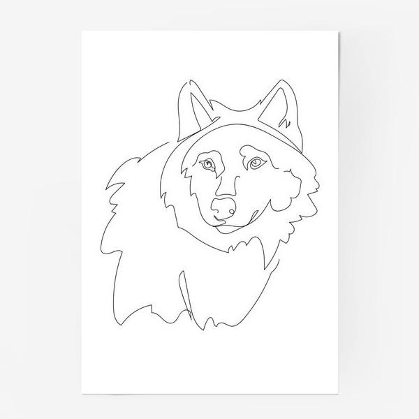 Постер «Волк. Графика. Линейный рисунок»