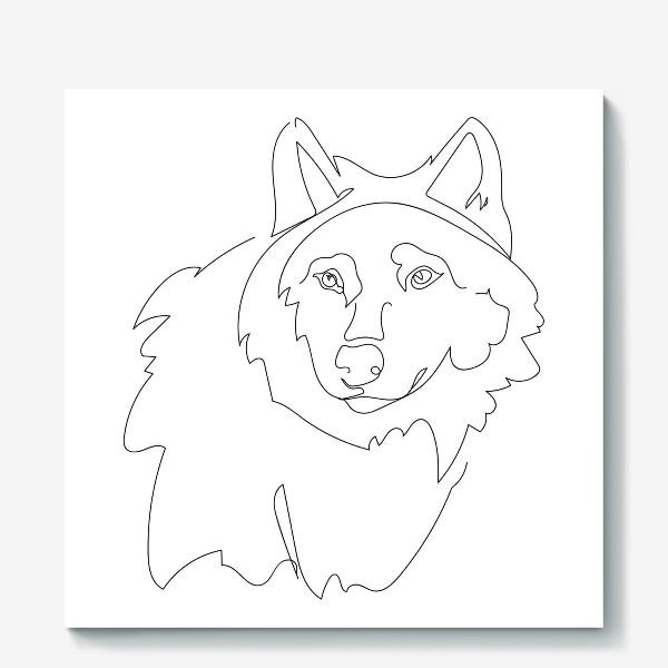 Холст «Волк. Графика. Линейный рисунок»
