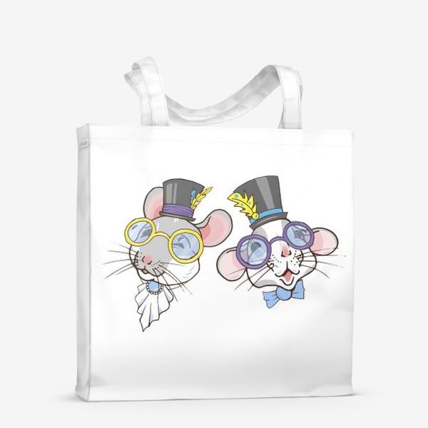 Сумка-шоппер «Мыши в шляпках»