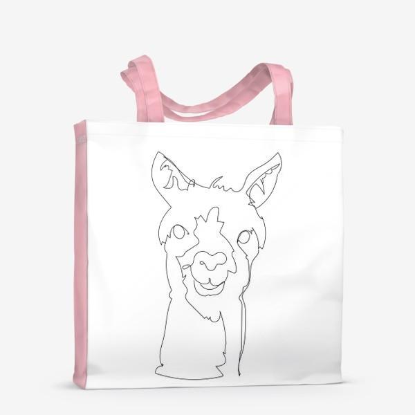 Сумка-шоппер «Альпака/Лама. Графика. Линейный рисунок»