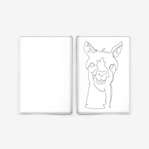 Обложка для паспорта «Альпака/Лама. Графика. Линейный рисунок»