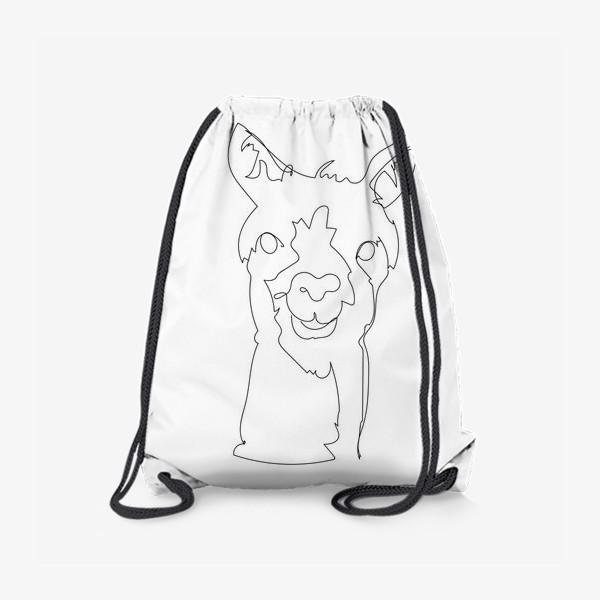Рюкзак «Альпака/Лама. Графика. Линейный рисунок»