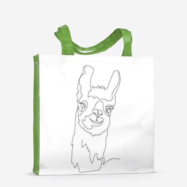 Сумка-шоппер «Забавная альпака/Лама. Графика. Линейный рисунок»