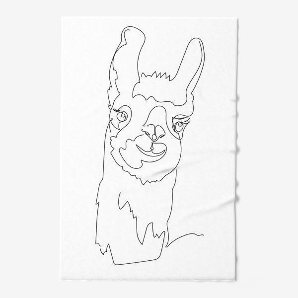 Полотенце «Забавная альпака/Лама. Графика. Линейный рисунок»