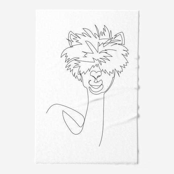 Полотенце «Лама/Альпака. Графика. Линейный рисунок»