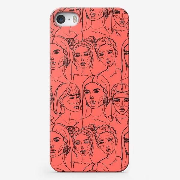 Чехол iPhone «Паттерн из лиц на коралловом фоне.Скетч.»