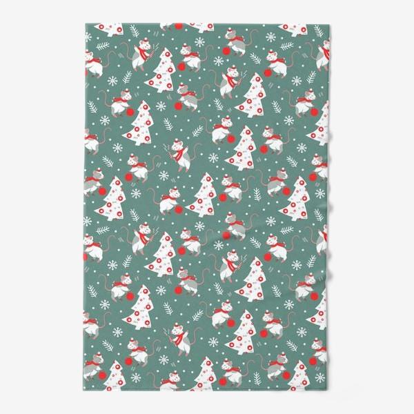 Полотенце «Новогодние мышки в шарфиках»