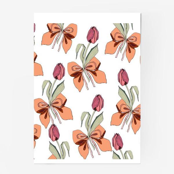 Постер «тюльпаны с бантиками»