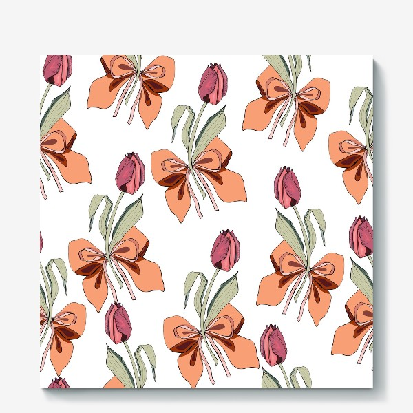 Холст «тюльпаны с бантиками»