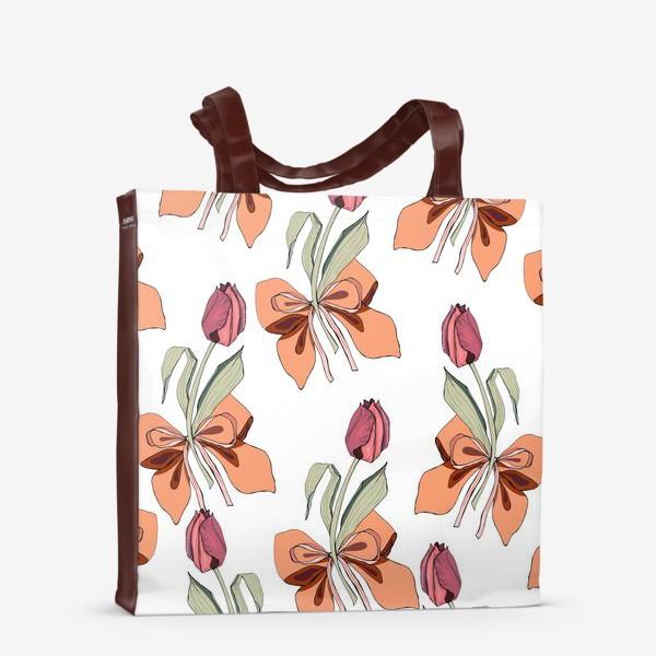 Сумка-шоппер «тюльпаны с бантиками»