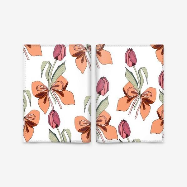 Обложка для паспорта «тюльпаны с бантиками»