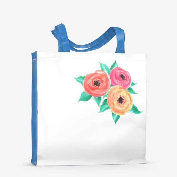 Сумка-шоппер «Серия цветы, пионы, розы (акрил)»