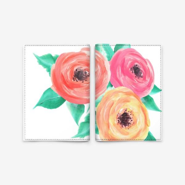 Обложка для паспорта «Серия цветы, пионы, розы (акрил)»