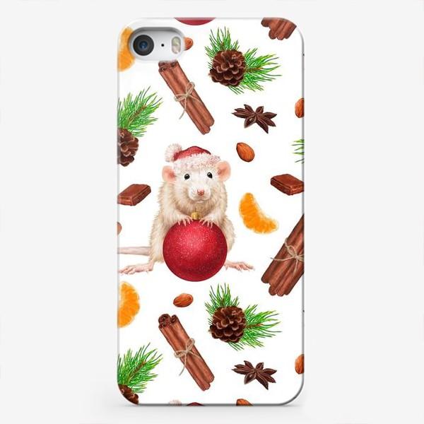 Чехол iPhone «Новогодняя мышка cо сладостями»