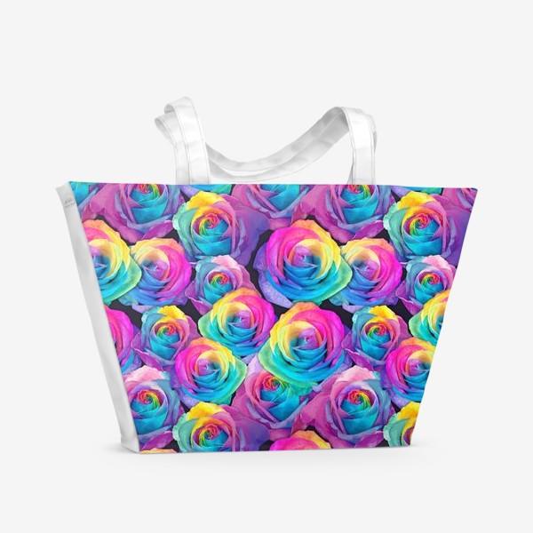 Пляжная сумка «Радужные розы»