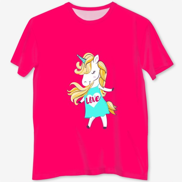 Футболка с полной запечаткой «Единорог девочка принт love unicorn»