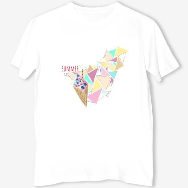 Футболка «Мороженое принт лето геометрия»