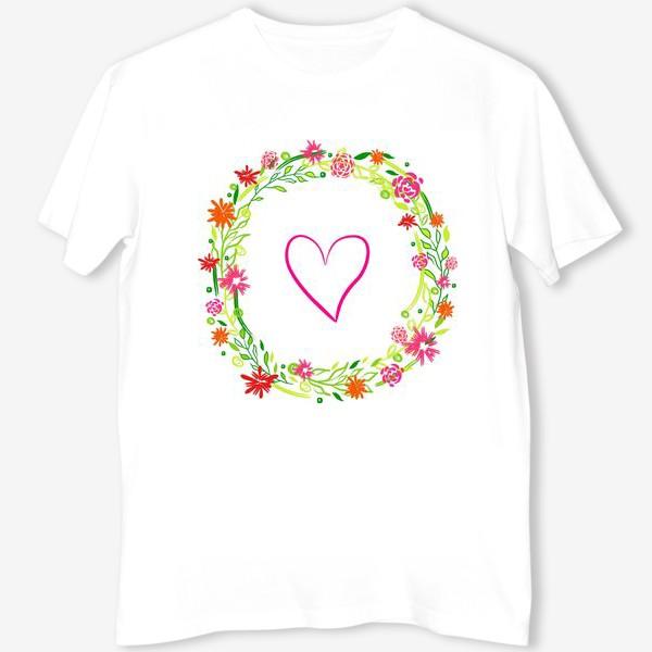 Футболка «Венок из цветов сердце любовь романтика »