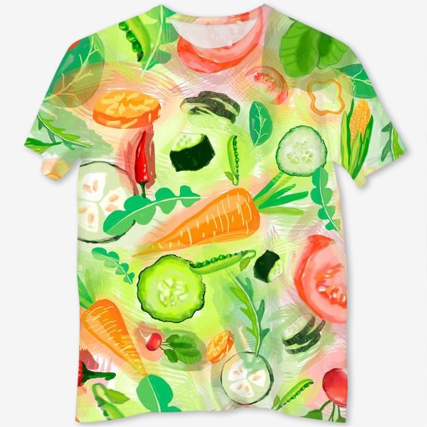 Футболка с полной запечаткой «Овощи витамины vegetables огурец помидор перец зелень»