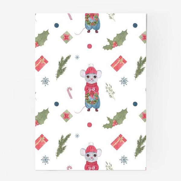 Постер «Мышонок с новогодним венком. Зимний акварельный рождественский принт на белом фоне.»