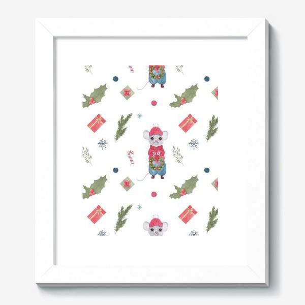Картина «Мышонок с новогодним венком. Зимний акварельный рождественский принт на белом фоне.»