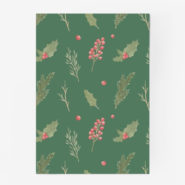 Постер «Зимние рождественские растения, новогодний акварельный паттерн на зеленом фоне.»