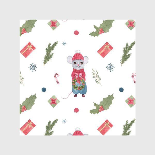 Шторы «Мышонок с новогодним венком. Зимний акварельный рождественский принт на белом фоне.»