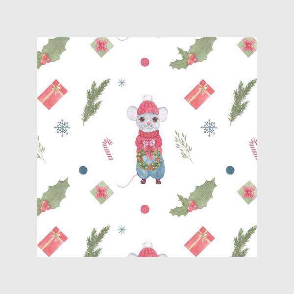 Скатерть «Мышонок с новогодним венком. Зимний акварельный рождественский принт на белом фоне.»