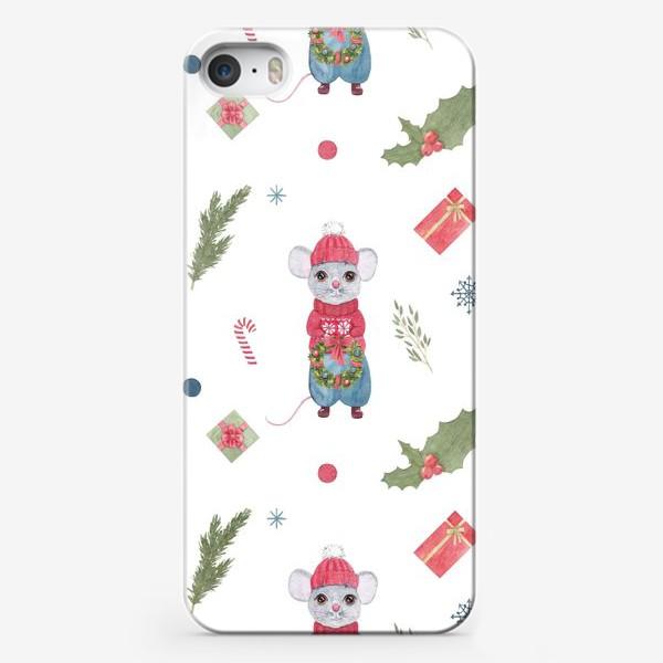 Чехол iPhone «Мышонок с новогодним венком. Зимний акварельный рождественский принт на белом фоне.»