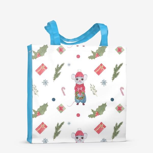 Сумка-шоппер «Мышонок с новогодним венком. Зимний акварельный рождественский принт на белом фоне.»