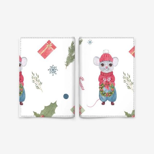 Обложка для паспорта «Мышонок с новогодним венком. Зимний акварельный рождественский принт на белом фоне.»
