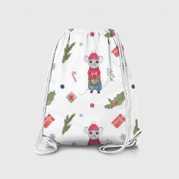 Рюкзак «Мышь (крыса) с новогодним венком, символ 2020 года. Зимний акварельный принт на белом фоне.»
