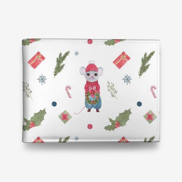 Кошелек «Мышонок с новогодним венком. Зимний акварельный рождественский принт на белом фоне.»