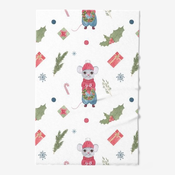 Полотенце «Мышонок с новогодним венком. Зимний акварельный рождественский принт на белом фоне.»
