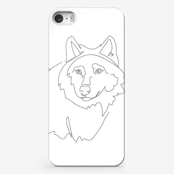 Чехол iPhone «Волк. Графика. Линейный рисунок»
