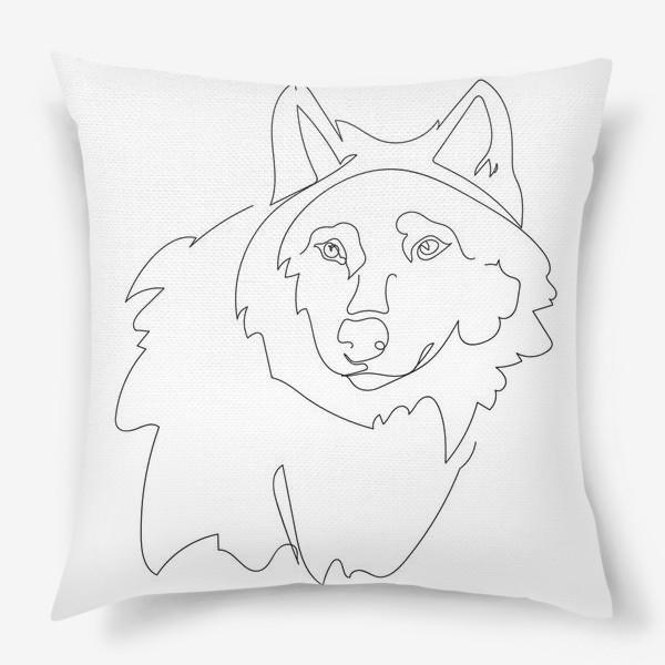 Подушка «Волк. Графика. Линейный рисунок»