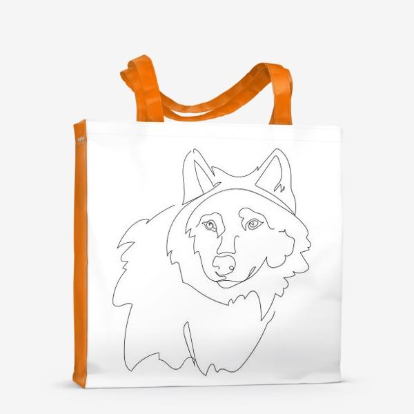Сумка-шоппер «Волк. Графика. Линейный рисунок»