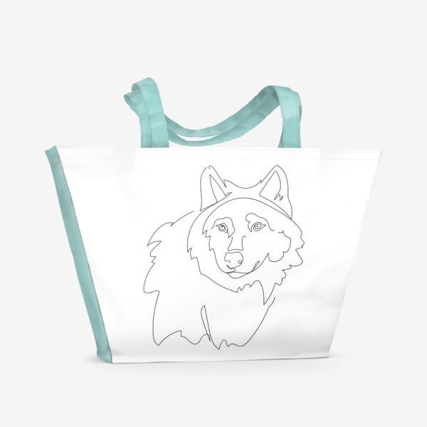 Пляжная сумка «Волк. Графика. Линейный рисунок»