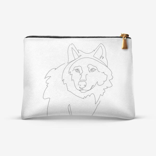 Косметичка «Волк. Графика. Линейный рисунок»