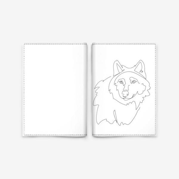 Обложка для паспорта «Волк. Графика. Линейный рисунок»