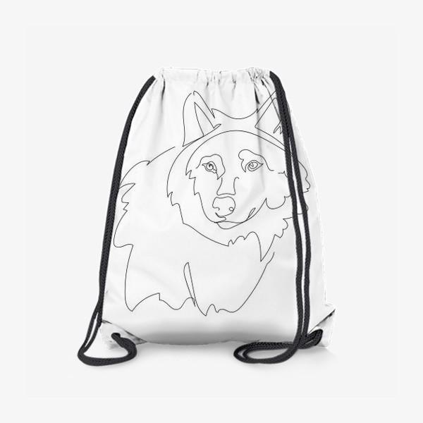 Рюкзак «Волк. Графика. Линейный рисунок»