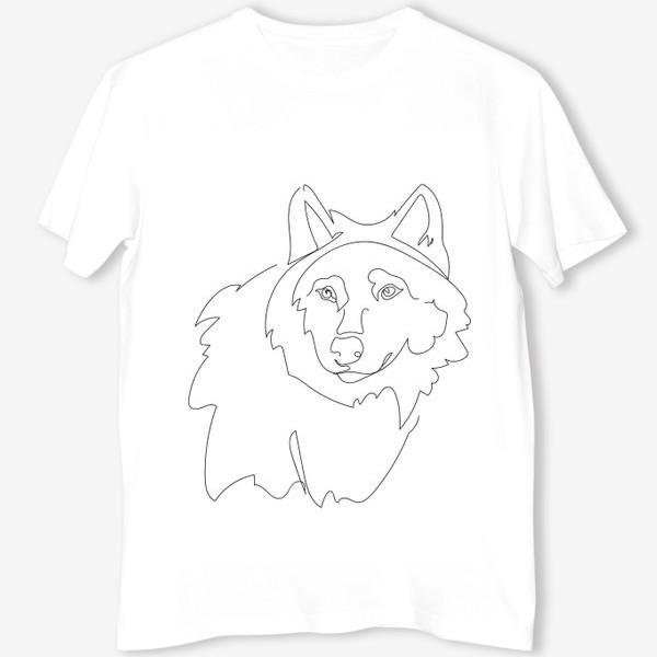 Футболка «Волк. Графика. Линейный рисунок»